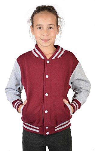 USA Mädchen Collegejacke in bordeaux rot - Butterfly - Kinder Schul Jacke mit Motiv Schmetterling - Geschenk, Kinder Größe:XL / 152