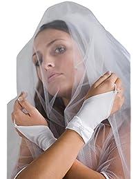 MGT-Shop R9 Brauthandschuhe Braut Handschuhe Hochzeit Brautzubehör Zubehör Brautaccessoires 20 cm weiß, creme, champagner , ivory