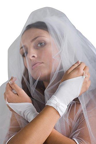 MGT-Shop R9 Brauthandschuhe Braut Handschuhe Hochzeit Brautzubehör Zubehör Brautaccessoires 20 cm weiß, creme, champagner , ivory (weiß)