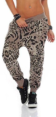Malito Damen Sweatpants im Leo Design   Sporthose mit Reißverschluss   Baggy zum Tanzen   Jogginghose - 3344 (Fango) -