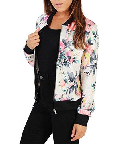 Damen Blumen Gedruckt Bomber Jacke Baseball Mantel Bikerjacke Sportjacke Bomberjacke Outwear Tops Coat mit Reißverschluss (Gemütliche Bomber)