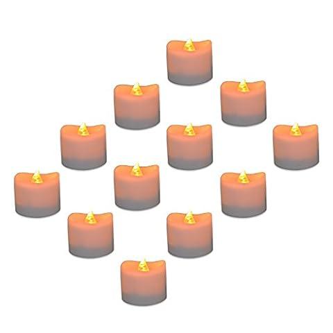 WHCREAT Realistisch, Sicherheit und Helle Flackernde Flammenlose LED Teelichter, Packung mit 12, 1.42x1.18 Zoll, Elektro Fälschung Kerze im Gelb, Welle (Herz Glas Teelicht)