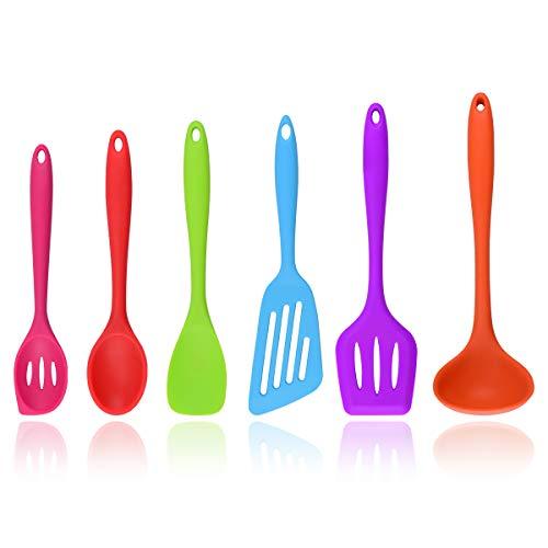 Zubita Utensili da Cucina, Utensili per Cucina in Silicone Set mestoli Cucchiaio, spatola Silicone, spatola Flessibile, Pasta, Insalata Cucchiaio, mestolo