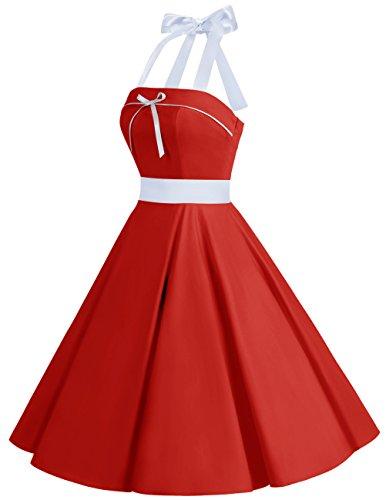 Dresstells Version10.0 Vintage 1950s Audrey Hepburn pin-up robe de soirée cocktail style halter années 50 à pois Rouge