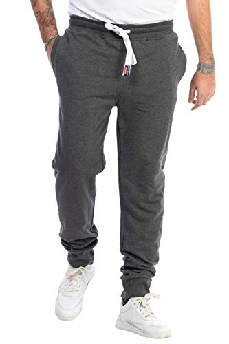 KENNY BROWN Herren Fitness-Hose lang, Jogginghose, elastische Sporthose Slim Sweat-Pants Trainingshose 518 (Anthrazit, M)
