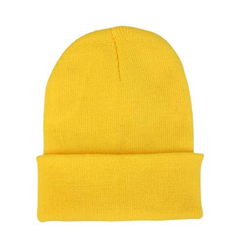 SEGRJ Gorro de Lana Unisex otoño, Invierno, Suave, Tejido de Punto, Color sólido, Color Brillante, Transpirable, elástico, Bright Yellow