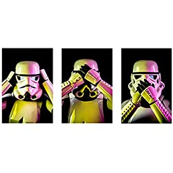 Empire Prints - Star Wars Poster. 3 Wise Stormtroopers Picture Set. Last Jedi Wall Art For Men, Boys, Women And Children. A4 Unframed Artwork