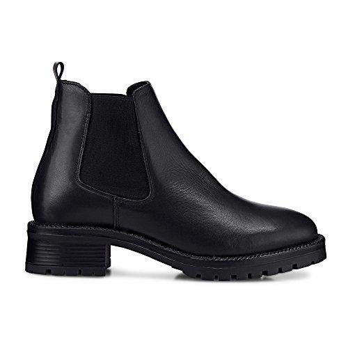 Another A Damen Damen Chelsea-Boots aus Leder, Stiefeletten in Schwarz mit robustem Block-Absatz schwarz Leder 39