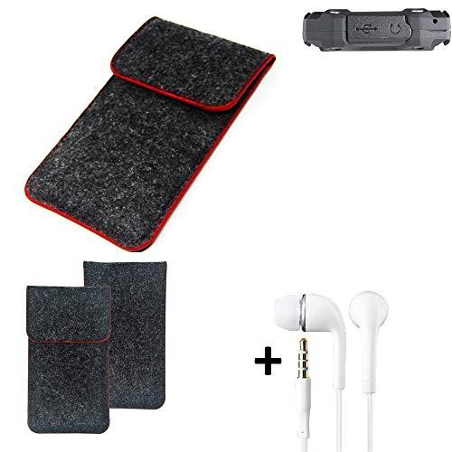 K-S-Trade® Filz Schutz Hülle Für Simvalley Mobile SPT-210 Schutzhülle Filztasche Pouch Tasche Handyhülle Filzhülle Dunkelgrau Roter Rand + Kopfhörer