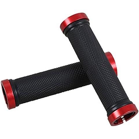 Bicicletta manubrio, hlhome doppio manico in gomma antiscivolo manico manico confortevole, Red, 127mm - Manopole Modellata