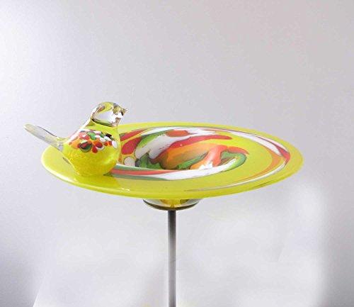 Edle Vogeltränke aus Glas gelb D 29 cm handgefertigt Vogelbad Glasobjekt