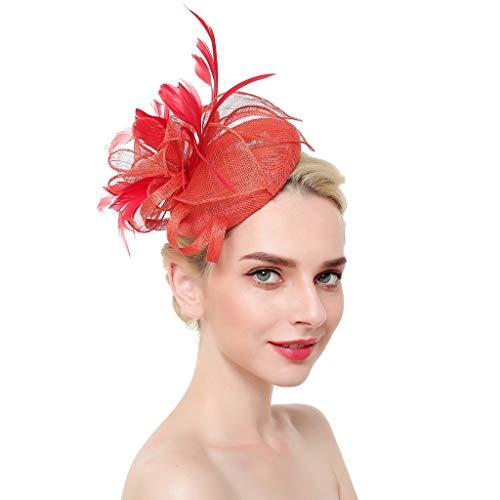 DQANIU ❤️❤️ Damenmode Hochzeit Braut Brautjungfer Haarschmuck Mesh Bänder Federn Stirnband Cocktail Tea Party Vintage Hut Headwear