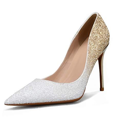 Fenghz-Shoes Schuhe Mode Dorsay Pumps für Frauen 6 cm Hohe Stiletto Heels Slip On Nachtclub Schuhe für Damen Glitter Kunstleder (Color : White-Gold, Size : 38 EU)