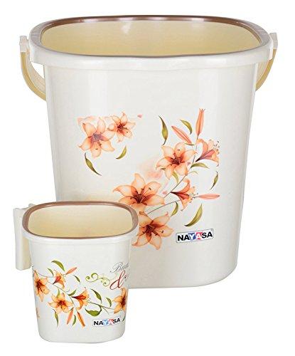 Nayasa Classical Strong Plastic Bathroom Bucket with Mug (25 L,...