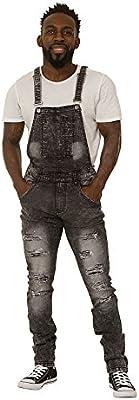 Peto vaquero hombre - Slim Fit - Negro overol de mezclilla 'Bib Down' Peto LUKEBLACK