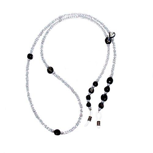 Rainbow Brillenkette Perlen Sonnenbrille Brillenband / RC02-Pearl (Perle Schwarz)