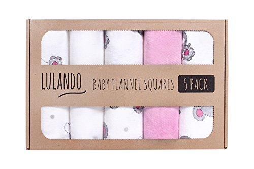 Lulando Pannolini Lavabili in Flanella Confezione da 5 Dimensioni 70 X 80 Cm, Copertine, Teli in Flanella per Neonato White/Pink - 500 g