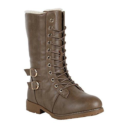 Damen Schnürstiefel Warm Gefütterte Stiefel Winter Schuhe Profil 151608 Khaki Schnallen 37 Flandell