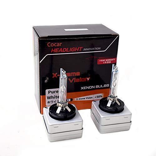 Cocar Auto D3S Xenon Scheinwerfer HID Lampen 6000K Mehr Licht Helligkeit Diamant Weiß Scheinwerfer mit Metall Chassis 35 Watt 12 V (2 Lampen) -