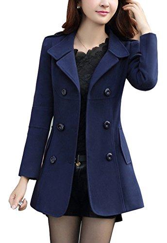 Brinny Damen Elegante Jacke Winter Mantel Zweireihige Trenchcoat Blau