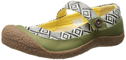 KEEN, HARVEST MJ BUTTON W-LODEN GREEN/BLACK, Ballerina, Größe 7 (Leder Mary Janes Keen)