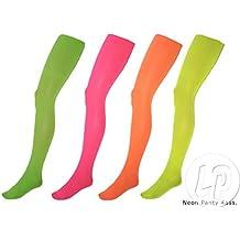 Lote / Conjunto de 6 piezas - mujer medias panty de neón amarillo neón