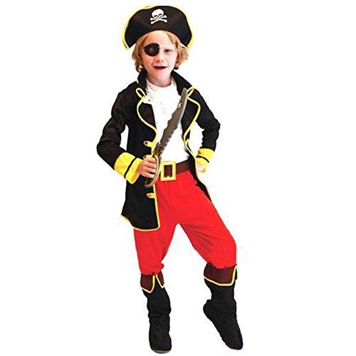 ARAUS Kinder Kostüm Set Pirat Halloween Jungen Cosplay Outfits Karneval Rollspiel Fasching Verkleidung 4-12 Jahre