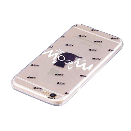 Cover per iPhone 7, OUJD iPhone 8 Custodia in silicone Trasparente TPU, caso crystal clear Shock-Absorption gel-back case protezione posteriore per cellulare Design per iPhone 7/iPhone 8- Cactus Gatto Solitario