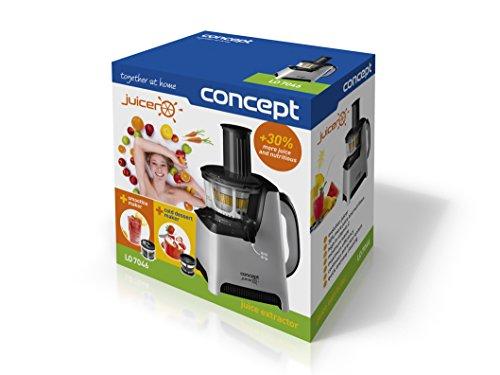 CONCEPT Hausgeräte lo7046 Slow Juicer für Obst und Gemüse, edelstahl/schwarz