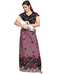Be You Women's Serena Satin Polka Dots Printed Maternity Nightgown (Pink, Free Size)