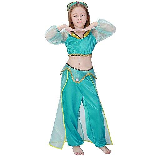 Halloween Prinzessin Kostüme Jasmin (KINDOYO Kinder-Bauchtanz-Kleidung Mädchen-indische Tanz-Kleidung, Halloween-Cosplay-Kostüm-Verfassungs-Party oder Themed-Ereignis-Kostüm (Hut + Bluse +)