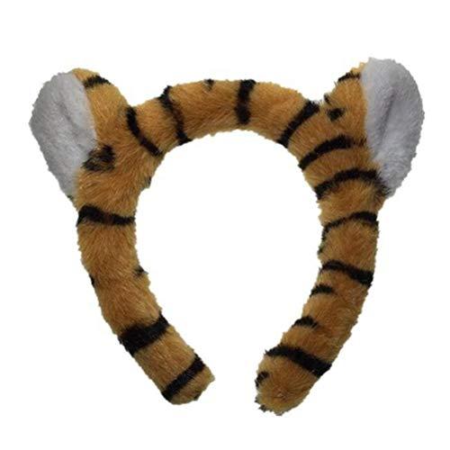 Lurrose Tiger Stirnband Plüsch Ohr Stirnband Haarreif Tierschmuck Niedlich Stirnband Party Kostüm Tiger Ohr für Dschungel Safari Zoo Mottoparty Geburtstag Cosplay Fotografie Requisite (Dschungel Tiger Kostüm)