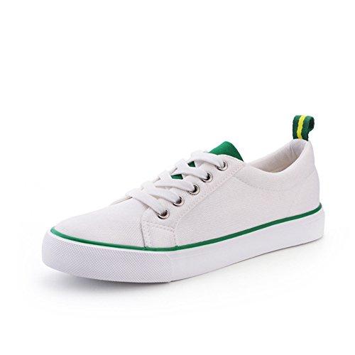 Damen Herren Segeltuch Schnürschuhe Weiße Körper Mit Farbig Zunge Flache Freizeit Sneaker Grün