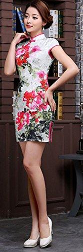 ... Eyekepper Frauen mit Blumenmuster Mini chinesische Abendkleid Cheongsam  Weiß ...