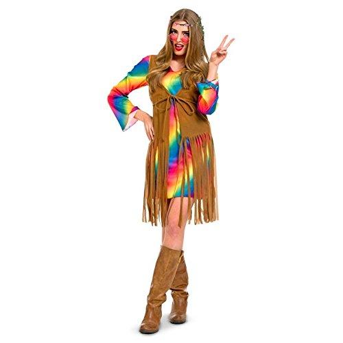 Kleider Hippie Kostüm - Folat 63344 Damen Flower Power Hippie-Kleid Kostüm L-XL