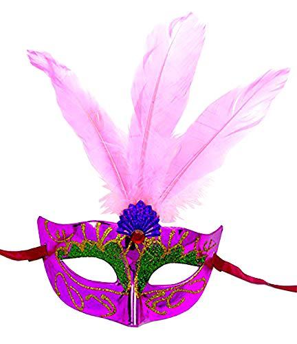 Evil Wear Masken Feder Maske lila Federn rosa venezianische Karneval-Gesicht Maske