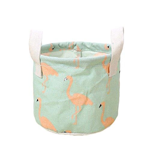 1X Toruiwa Faltbarer Aufbewahrungskorb Flamingo Muster mit Griff klein Korb Organizer für Kinder Spielzeug Kleidung Schuhe Bücher (14 * 18cm, Grün) (Kleiner Korb Griff)