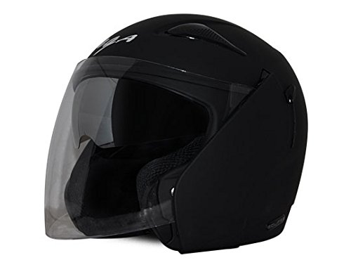 Vega Eclipse ECL-DK-M Open Face Helmet with Double Visor (Dull Black, M)
