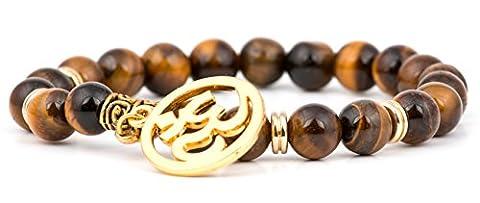 GOOD.designs Chakra Perlen-Armband aus echten Lava/Onyx Natursteinen, Hand der Fatima Hamsa-Anhänger, Buddha Handmala, hand of fatima bracelet (Tiger / OM-Logo)