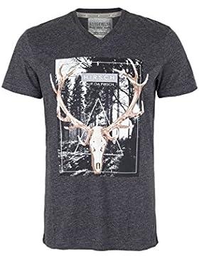 Hangowear Herren Trachten T-Shirt 'Hirsch auf Da Pirsch' Anthrazit, Anthrazit,