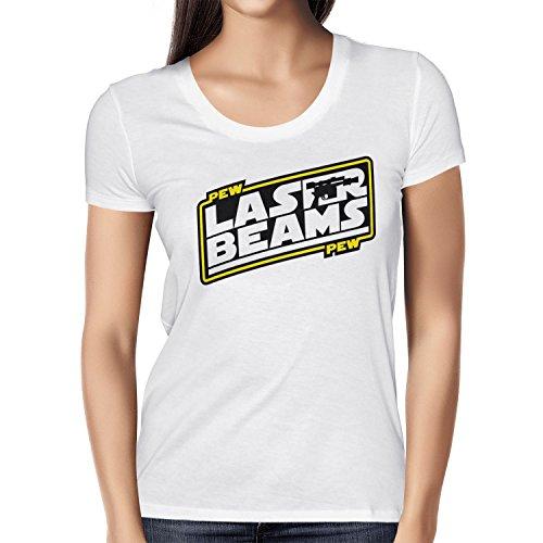 Texlab Pew Pew Laser Beams - Damen T-Shirt, Größe S, Weiß (Han Solo Laser)
