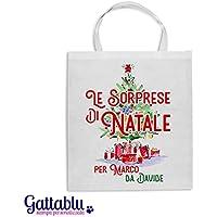 Borsa shopper Le sorprese di Natale PERSONALIZZATA con i vostri nomi, idea per confezionare i regali di Natale in modo personalizzato! Albero di Natale!