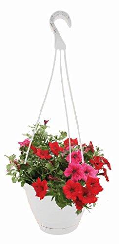 Blumenampel Hängeampel Blumentopf Pflanztopf Weiß zum Hängen mit Untersetzer Ø 20 cm