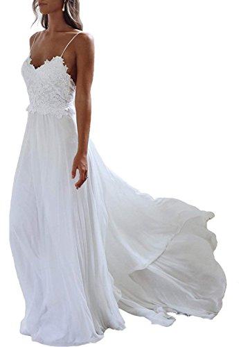 JAEDEN Brautkleid Lang Hochzeitskleider Boho Brautmode Strand Chiffon Spitze Rückenfrei Weiß EUR40
