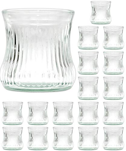 Ami Europe 18 Stück Windlichter aus Glas 8cm Windlicht für Teelichter Teelichtglas