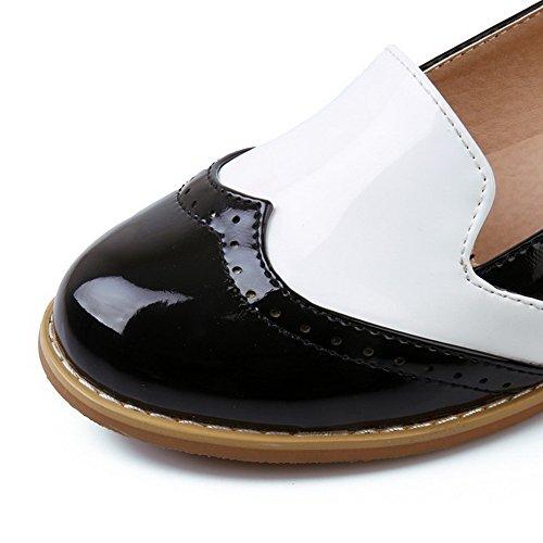 AllhqFashion Femme Couleurs Mélangées Verni à Talon Bas Boucle Rond Chaussures Légeres Noir