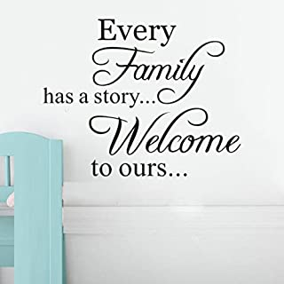 Wall Stickers Home Quotes , YUYOUG Every Family Has A Story Welcome To Ours Removable Art Vinyl Mural Home Room Decor Quote Letter Words Wall Stickers