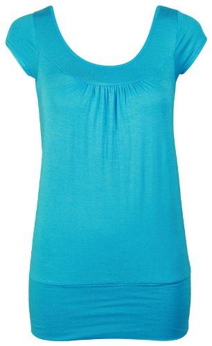 Damen Kurze Flügelärmel Damen Stretch Rund U-ausschnitt Geraffte Rüschen Schlicht U T-Shirt Top Übergröße Türkis