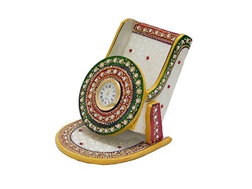 Chave India Marble Mobile Stand / card stand / Pen stand with Painting & Kundan Work with clock mounted in it