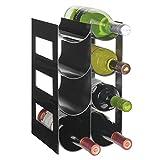 mDesign Práctico Estante para Botellas de Vino - Botelleros para Vino y Otras Bebidas para Guardar hasta 8 Unidades - Vinoteca de plástico de pie - Negro
